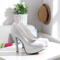 2012 fashion high-heeled shoes princess shoes women's black white platform round toe fashion single shoes