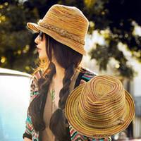 Fashion strawhat sun-shading hat beach cap fedoras sunbonnet women's fashion straw hat