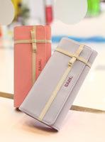 Leleshop 2013 new arrival sweet bow decoration color block long design wallet ice cream women's wallet