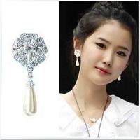 (Min order is $10)Fashion ShanZuan five flower water pearl earrings