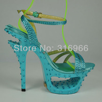 Shoes woman fashion 2013 Summer New Arrival brand sandals women ladies Blue  prom shoes with rhinestones wholesale#YD1072