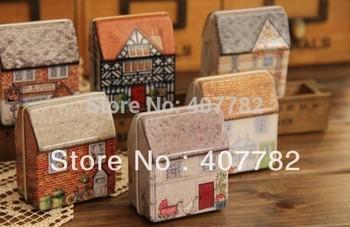 12 pcs/lots europe style mini house tin storage box case wedding candy case dropship