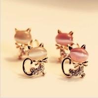(Min order is $10) W5733 Han edition cute nude opal kitten temperament stud earrings