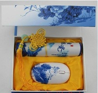Blue and white porcelain mouse pad wireless mouse twinset exquisite gift set gift