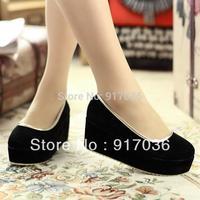 Big Discount classic fashionable preppy style gentlewomen high heel wedges platform plus size shoes