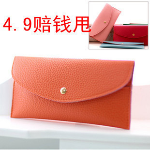 2013 wallet women&#39;s change pluripotent bag card holder long design women&#39;s color block cute bags(China (Mainland))
