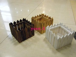 3 wooden planters fence plastic artificial flower silk flower crafts decoration(China (Mainland))