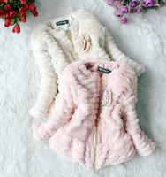 Hot sale sweet girl winter warm coats fashion kids fur clothing outwear flower child wool coats good quaity wholesale 3PCS