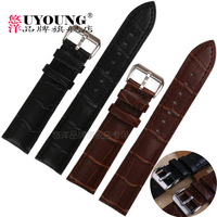 Watch accessories quality genuine leather watch band steel buckle Men 18 20 22 24 26mm