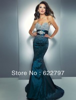 Enduring asymmetrical pleated mermaid gown beaded sweetheart tulle prom dress