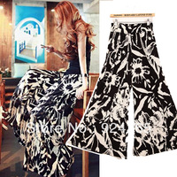 Free Shipping S M L European Style Fashion Casual Women Wide Leg Full Pants With Black And White Flower Print