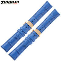 Watch band double butterfly buckle genuine leather watchband gold buckle 14 16 18 20mm navy blue