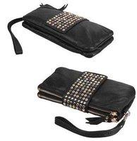 NEW Korean Style Faux Leather Rivet Lady Girls Clutch Purse Wallet Bag &2 Colors