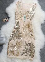 Free shipping!Summer 2013 elegant embroidered sequined vest dress retro exquisite Korean version of Slim Women Dress