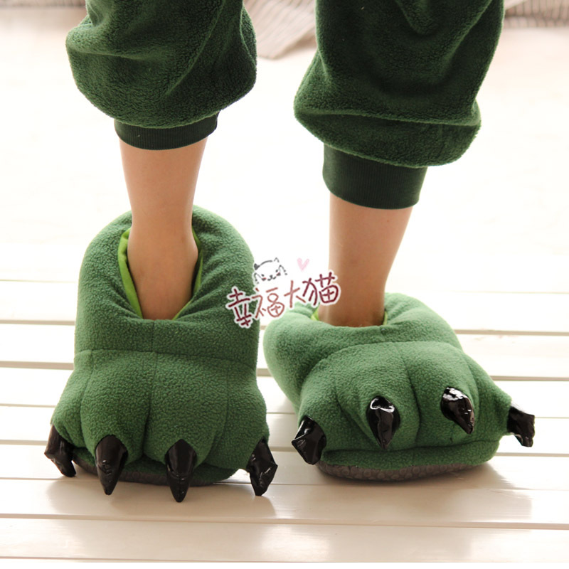 FREE SHIPPING (1pair) Cute Cartoon Dinosaur Claws Slippers, Indoor Boots, Warm Slippers, Winter Foot Warmer,2Colors FC12260(China (Mainland))