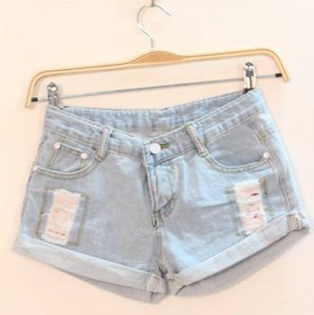 NEW ARRIVAL 2013 summer women's m5100 casual all-match light blue roll-up hem denim shorts hole shorts  FREESHIPPING