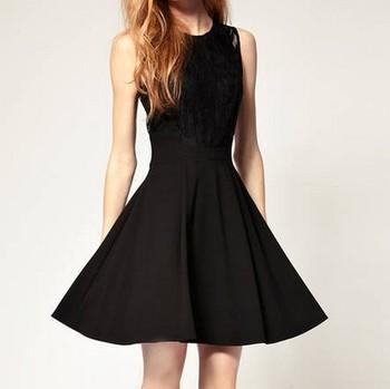 NEW ARRIVAL 2013 summer women's q156 cutout lace slim waist sleeveless one-piece dress black  FREESHIPPING