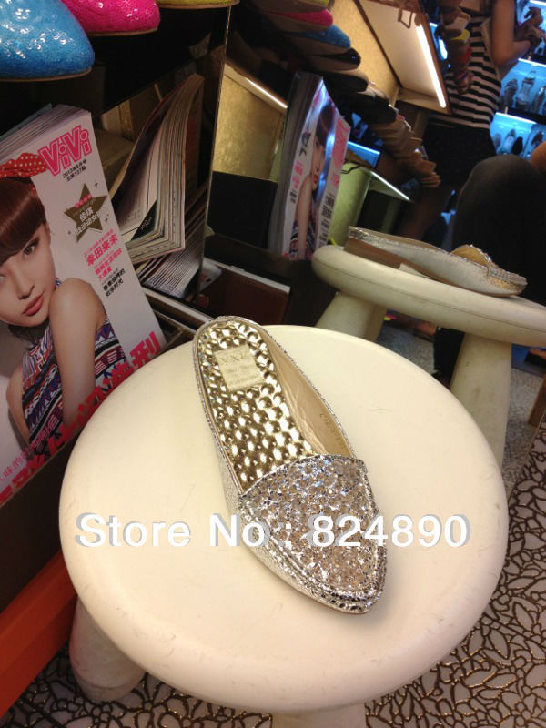 Free shiipping New arrival naked heel flat shoes sliver color Surface smooth and bright(China (Mainland))
