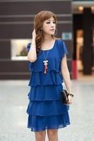 Drop Shipping!New Arrival 2013 New Korean summer beauty body sculpting lady dress chiffon casual short-sleeved Women