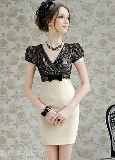 0183 / / beige mosaic black lace tight bow V-neck bubble short-sleeved dress(China (Mainland))