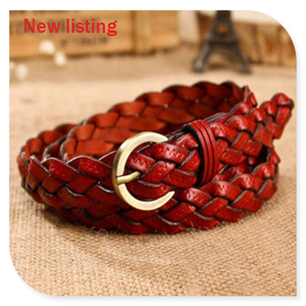 New listing fashion designer belts for women Four Seasons Weave leather belts woman 2013 wholesale(China (Mainland))