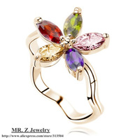 Topshop 18K Gold Plated Austrian Crystal Flower Ring Finger Rings for Women 5pcs/lot Free Shipping