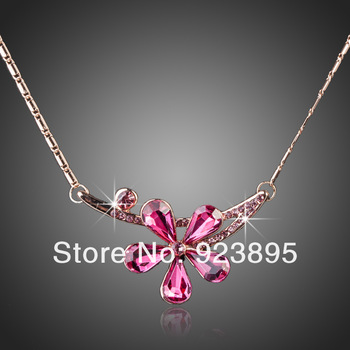 Free shipping !! Alibaba express pink crystal rhinestone flower gold chain necklace 2013 KN537-4