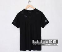 Hot Sell Men Embroidery Five-star T-shirt Shirts Tops Tees Cotton Short Sleeve Shirts Blouse