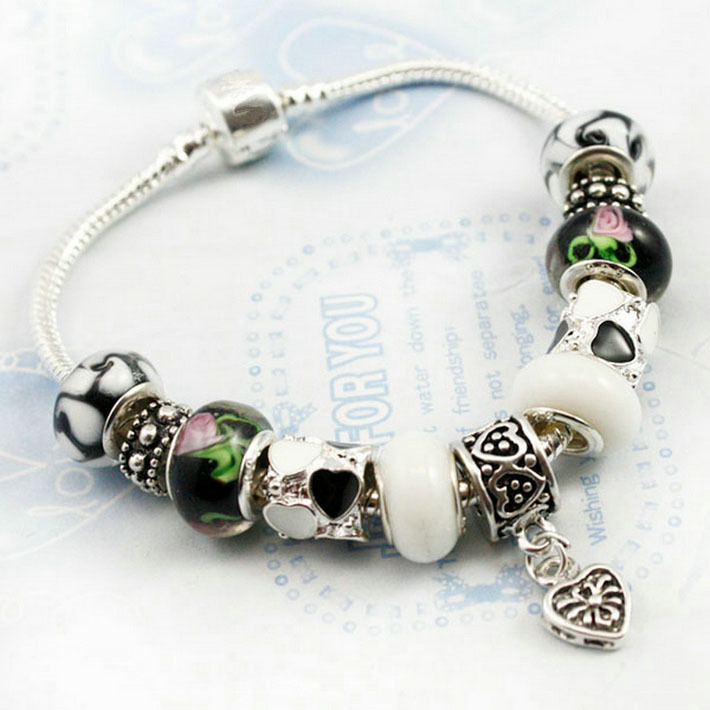 new 2013 cheap jewelry free shipping 925 sterling silver Glass heart bracelet Women fashion jewelry PJ1086(China (Mainland))