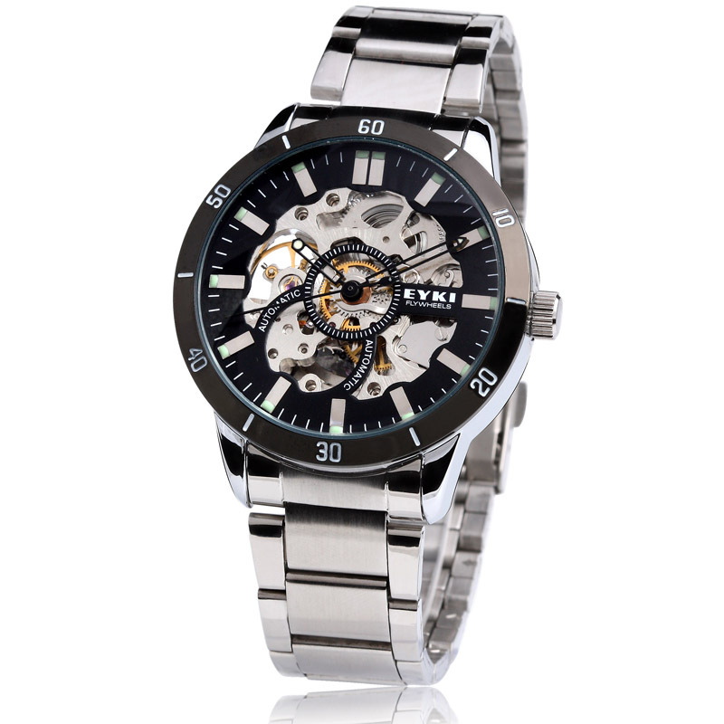 Ikey brand watches fully-automatic mechanical watch male fashion transparent cutout table luminous mens watch(China (Mainland))