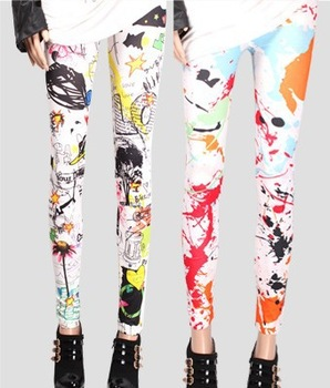 Free shipping New Arrival fashion trend graffiti color Pomo summer leggings, slim printing leggings Pantyhose. N0112