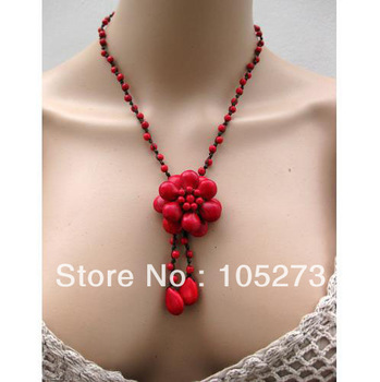 Charming Turquoise Jewelry Handmade Red Flower Turquoise Necklace 18'' 4-20mm Fashion Jewelry Hot Sale New Free Shipping