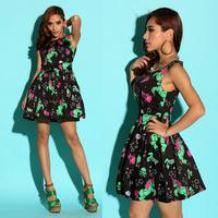 Fashion women's pinup vintage poison skull trojan neon pattern one-piece dress