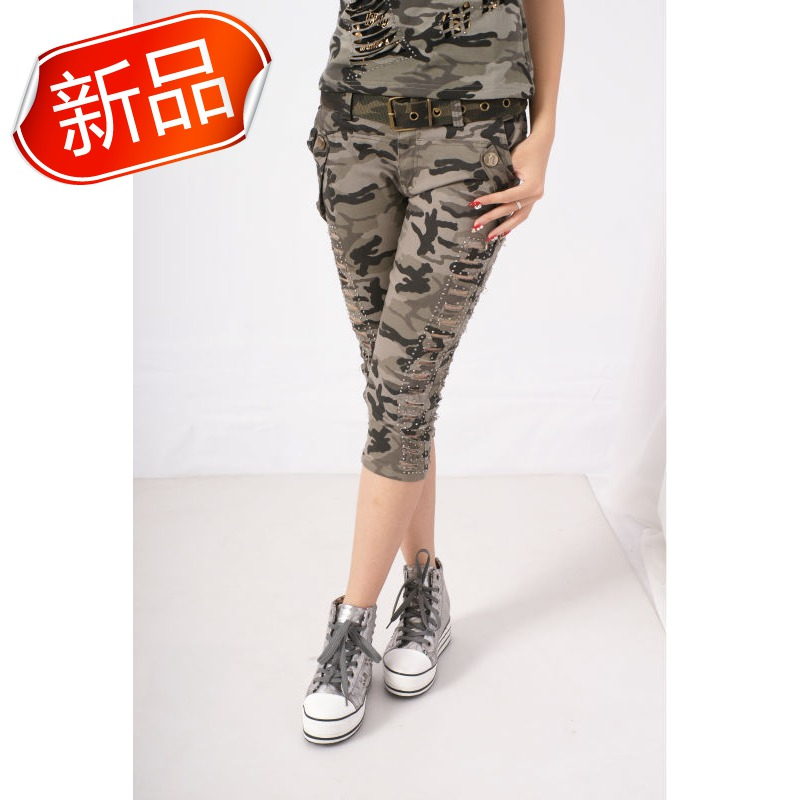 Fashion 2013 ofdynamism hip-hop fashion cool punk Camouflage capris female(China (Mainland))