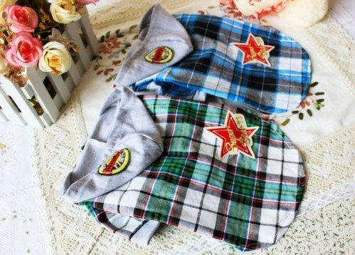 2 Colors Star Lattice Pet clothes Cat Dog Clothes hoodie coat T-shirts S,M,L,XL ,XL,XXL,NEW(China (Mainland))