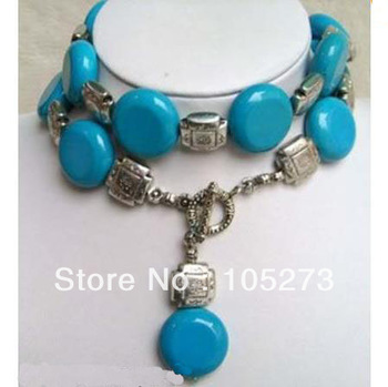Charming Turquoise Jewelry Coin Shaper Blue Color Turquoise Tibet Silver Beads Necklace 30'' 6-20mm Handmade Style Free Shipping