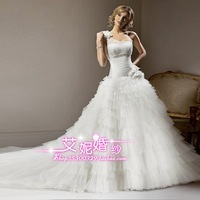 2013 wedding formal dress fashion vintage one shoulder sweet bride hunsha organza long trailing yt15