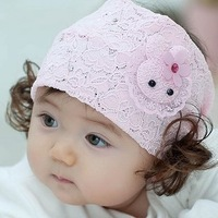 Promotion Free Shipping Baby girl child hair accessory    rabbit princess hair band lace  high quality   y1908