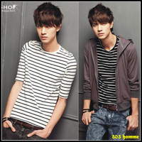 2012 men's spring and summer clothing short-sleeve british style black and white stripe half sleeve t-shirt