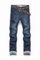 Hot-selling love decorative pattern lining jeans male slim denim trousers denim trousers n823(China (Mainland))