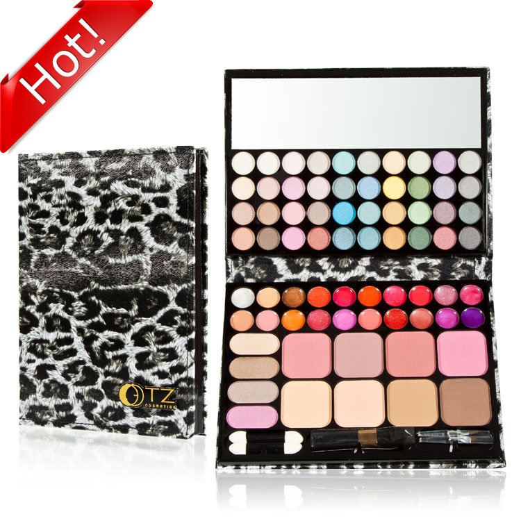 72 leopard print beautiful eye shadow lip gloss blush powder wheel combination(China (Mainland))