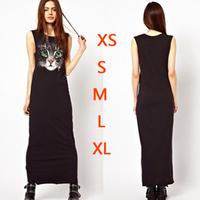 Free shipping woman dresses new fashion 2014  summer Cat face cartoon pattern high waist long dress women's wear S M L XL XXL