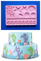 Free shipping!!!Sea Star etc. (HY1-112)  Food Grade Silicone Handmade Fondant Crafts DIY Mold Cake Decorating