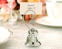 Free Shipping via FEDEX(50pcs)Silvery Ring Bell Place Card Holder Decoration for Wedding, Party Supplies