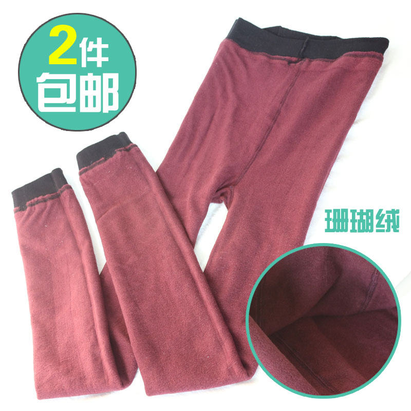 free shipping Thermal 2 meat women's thickening brushed step legging wire socks(China (Mainland))