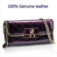 2014 100% Genuine leather, women's handbag, day clutch female cowhide fashion japanned leather shoulder chain small bag