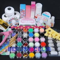 FULL 48 Acrylic Nail Art Powder Liquid Glitter Stripe Hexagon Block File Glue Brush Tweezer Clipper