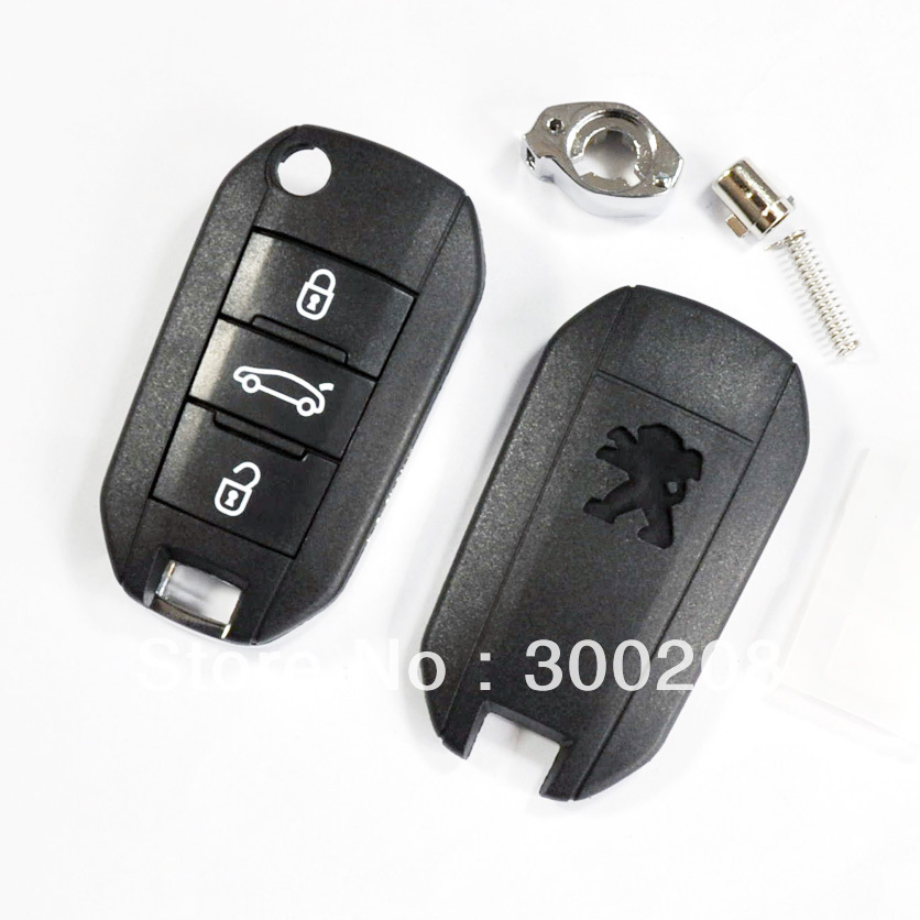 High Qulity 3 Buttons Modified Flip Remote Key Shell for Peugeot Car Key Cover Replacement + HKP Free Shipping(China (Mainland))