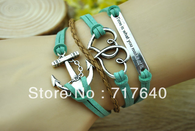 Free shipping!12pcs/Lot! Green And Brown Flocking Leather Retro Anchor Heart Bracelet Trendy Women's Inspirational Jewelry(China (Mainland))