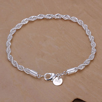 Wholesale! Free Shipping Wholesale 925 silver Plated fashion jewelry Twisted Line Bracelet H207